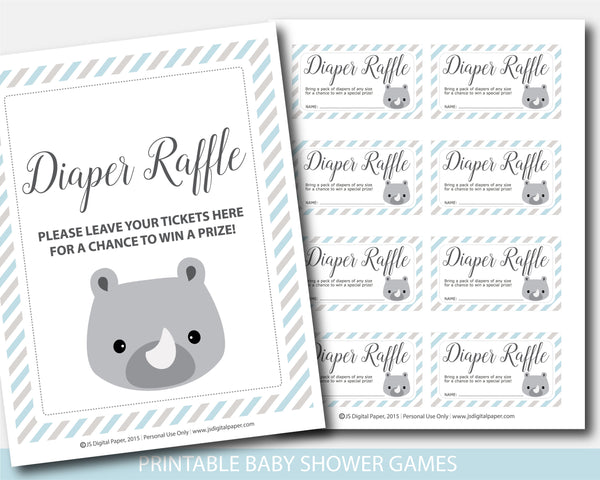 Rhino baby shower diaper raffle with cards and sign, BS7-08