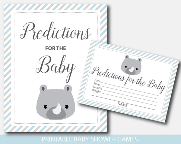 Rhino baby shower predictions for the baby with cards and sign, BS7-15