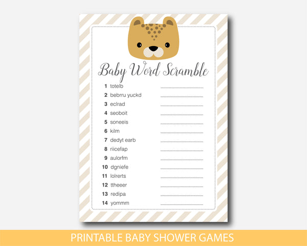 Leopard baby shower word scramble game, BS8-03