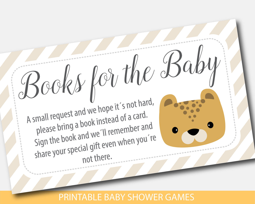 Leopard baby shower books for the baby invitation inserts, BS8-09