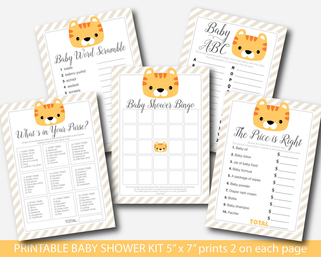 Tiger baby shower game bundle with five games, Bingo, Word scramble, ABCs The price is right and What´s in your purse, BS9-01