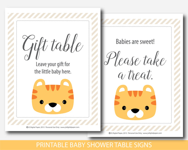 Tiger baby shower table signs and decorations, BS9-07