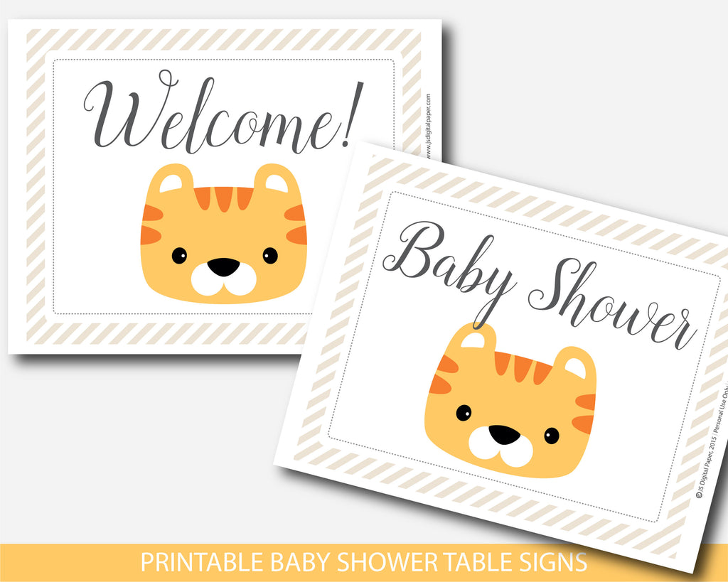 Tiger Baby Shower Table Signs And Decorations Bs9 07 Js Digital Paper