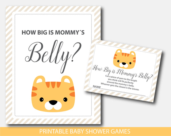 Tiger baby shower how big is mommy´s belly game, BS9-12