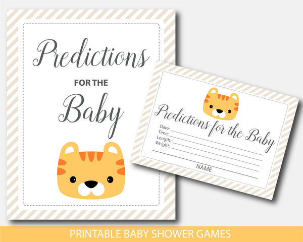 Tiger baby shower predictions for the baby with cards and sign, BS9-15