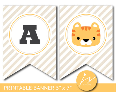 Tiger baby shower and birthday bunting banner, BS9-19