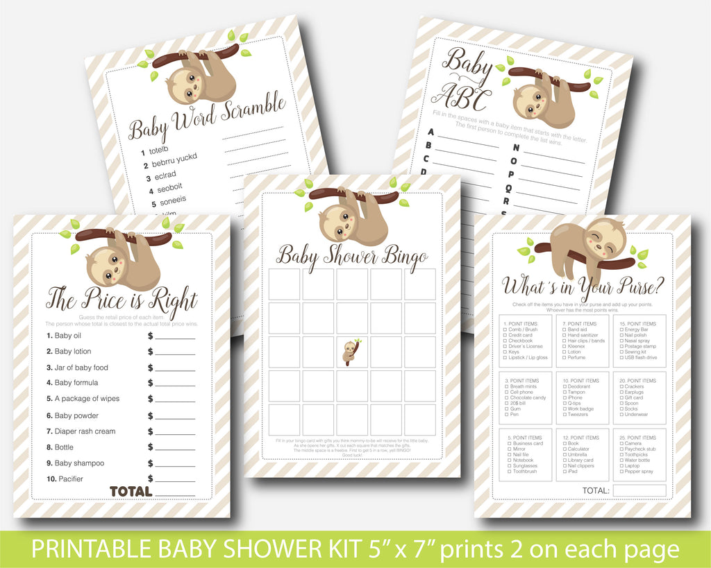 Sloth baby shower games set with 5 games, BSL1-01