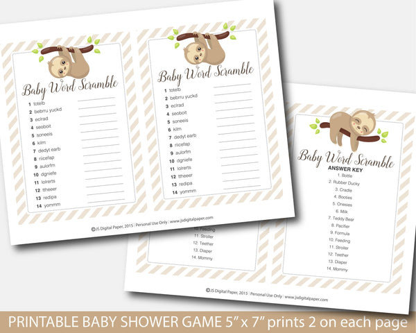 Sloth baby shower word scramble game, BSL1-03
