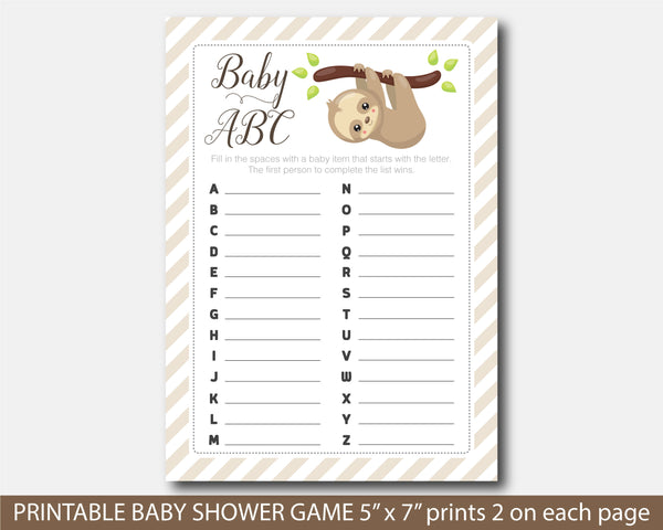 Sloth baby shower ABC game, BSL1-04