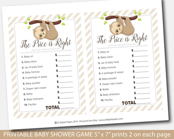 Sloth baby shower the price is right game, BSL1-05