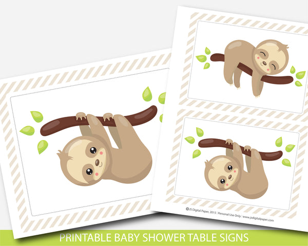 Sloth baby shower table signs and decorations, BSL1-07