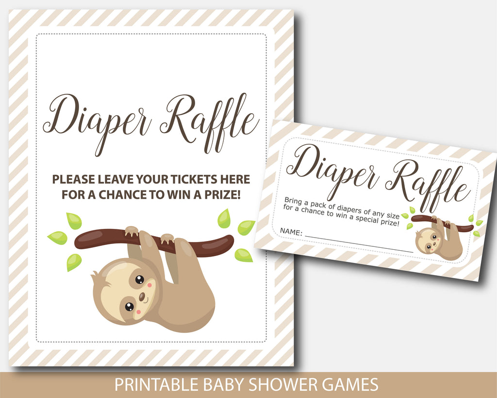 Sloth baby shower diaper raffle with cards and sign, BSL1-08