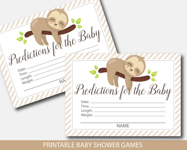 Sloth baby shower predictions for the baby with cards and sign, BSL1-15