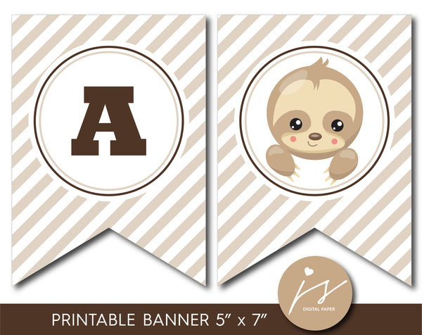 Sloth baby shower and birthday bunting banner, BSL1-19