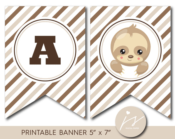 Printable little baby sloth birthday and baby shower banner, BSL1-20