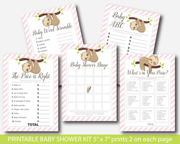 Sloth baby shower games set with 5 games in pink stripes, BSL2-01