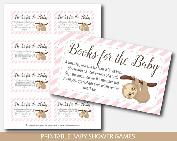 Baby shower books for the baby cards with sloth theme, BSL2-09