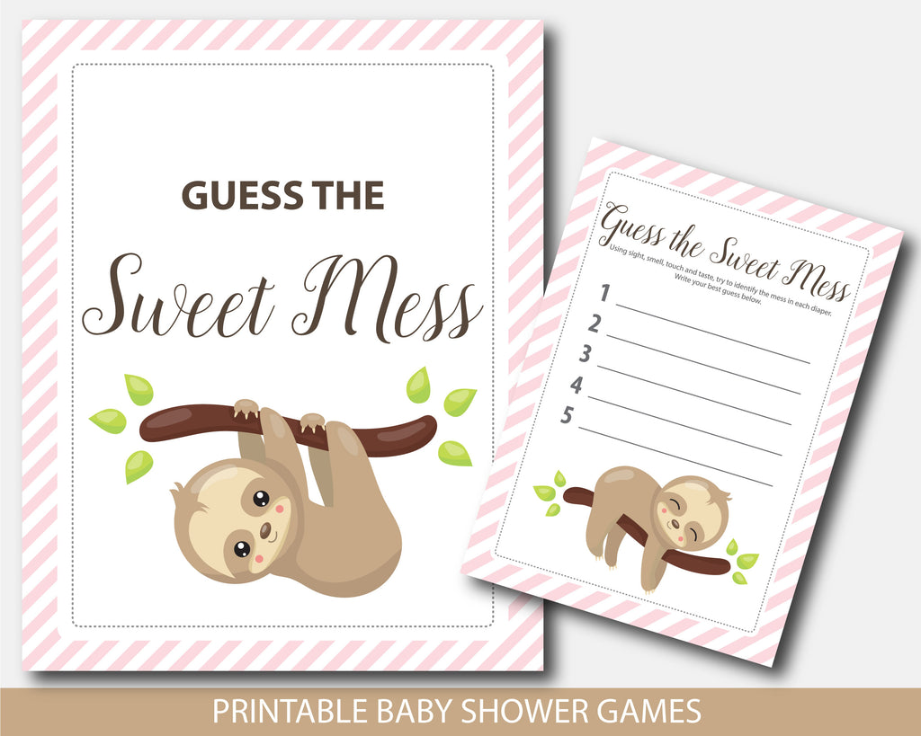 Baby shower guess the sweet mess game with sloth theme, BSL2-11