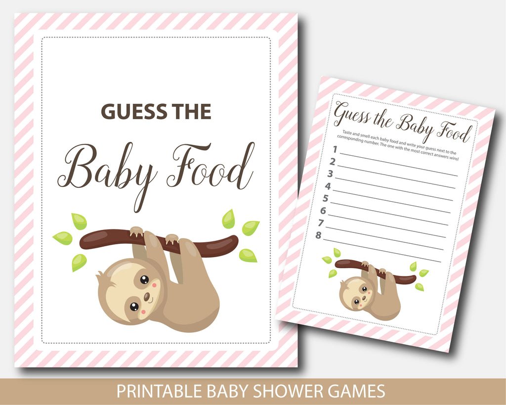 Baby shower guess the baby food game with sloth theme, BSL2-13