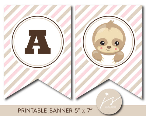 Beige and pink striped sloth baby shower and birthday banner, BSL2-20