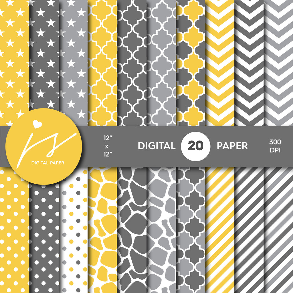 Yellow and Grey Digital paper bundle pack with polka dots, stripes, chevron, safari, cow and stars pattern, BU-02