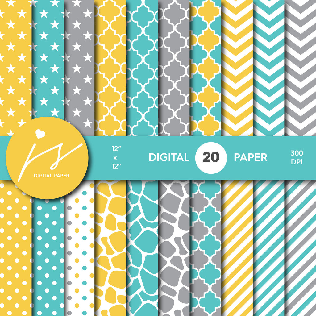 Turquoise, Yellow and Grey Digital paper bundle pack with polka dots, stripes, chevron, safari, cow and stars pattern, BU-03