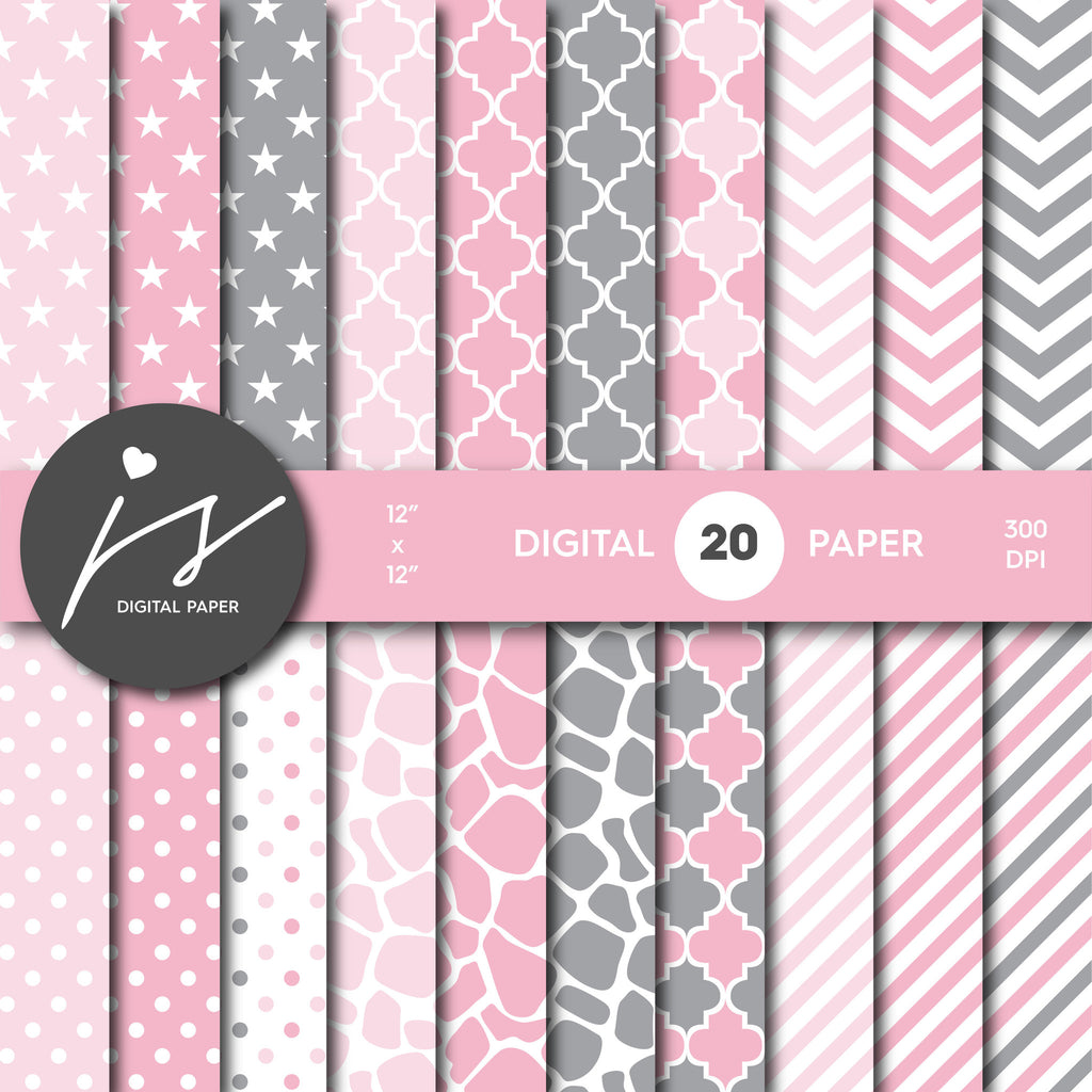 Baby Pink and Grey Digital paper bundle pack with polka dots, stripes, chevron, safari, cow and stars pattern, BU-04