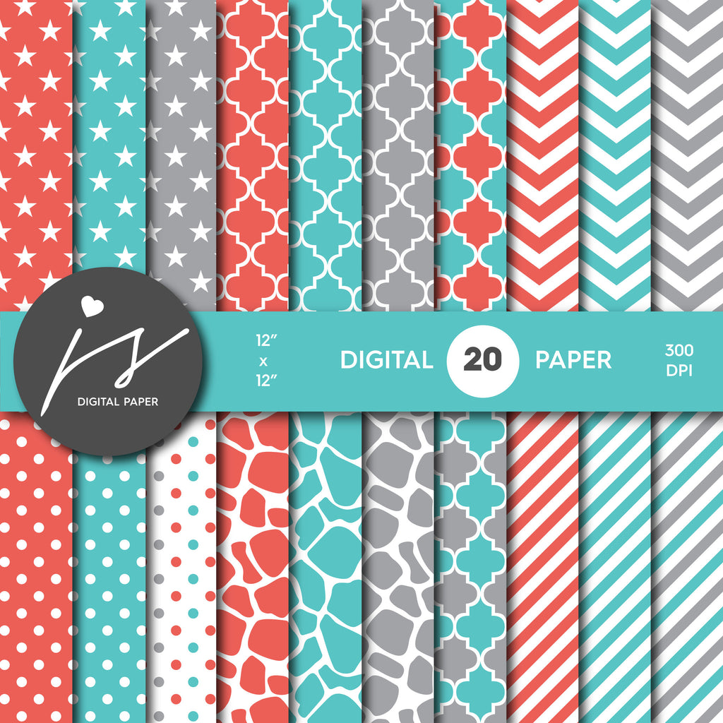Red Turquoise and Grey Digital paper bundle pack with polka dots, stripes, chevron, safari, cow and stars pattern, BU-06
