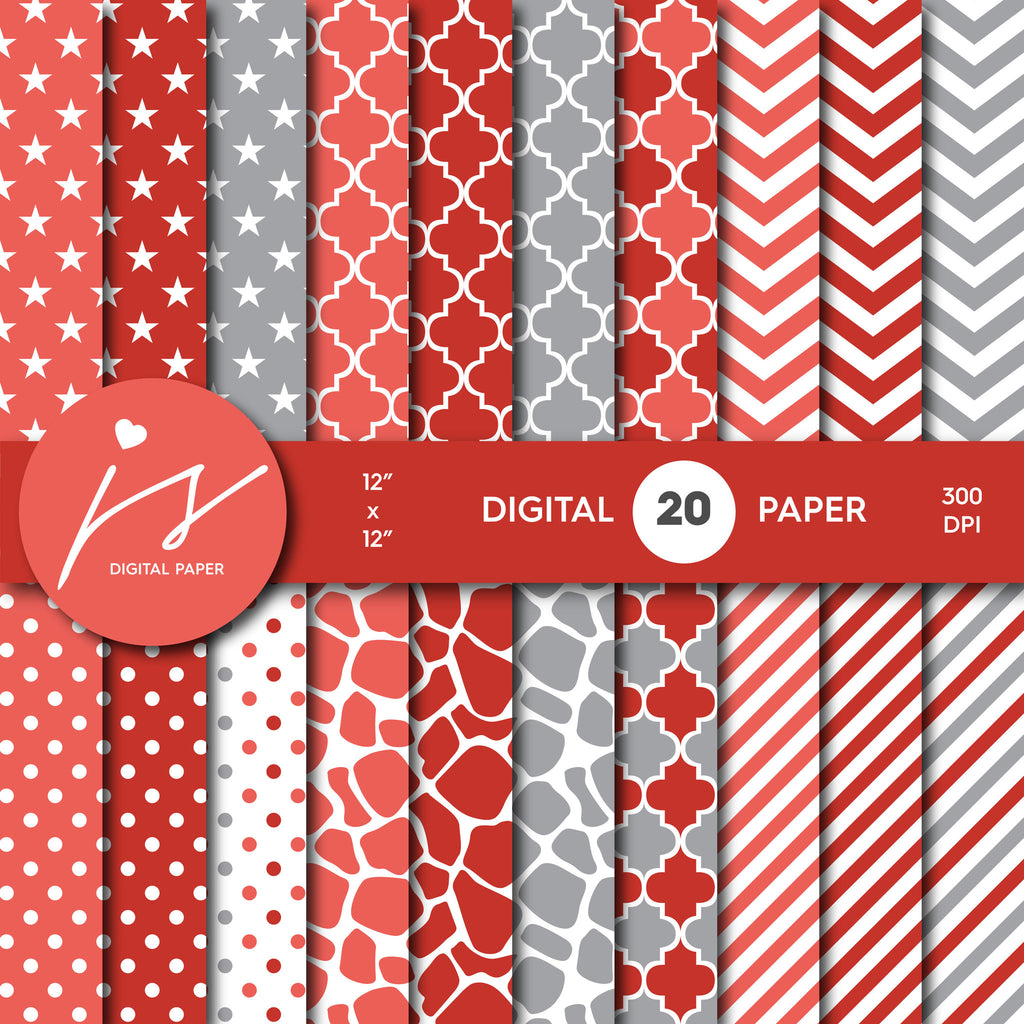 Red and Grey Digital paper bundle pack with polka dots, stripes, chevron, safari, cow and stars pattern, BU-07