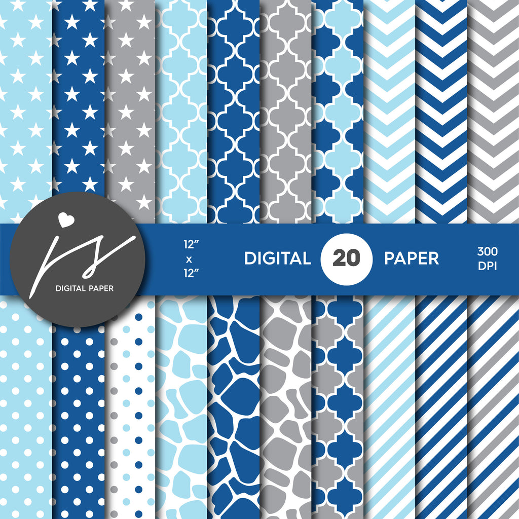 Light blue, Navy blue and Grey Digital paper bundle pack with polka dots, stripes, chevron, safari, cow and stars pattern, BU-09
