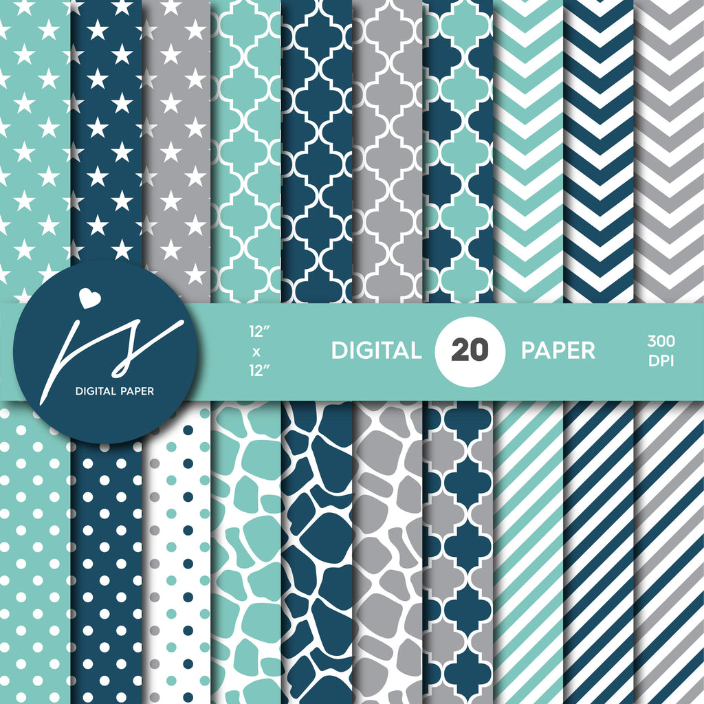 Green, Turquoise and Grey Digital paper bundle pack with polka dots, stripes, chevron, safari, cow and stars pattern, BU-10