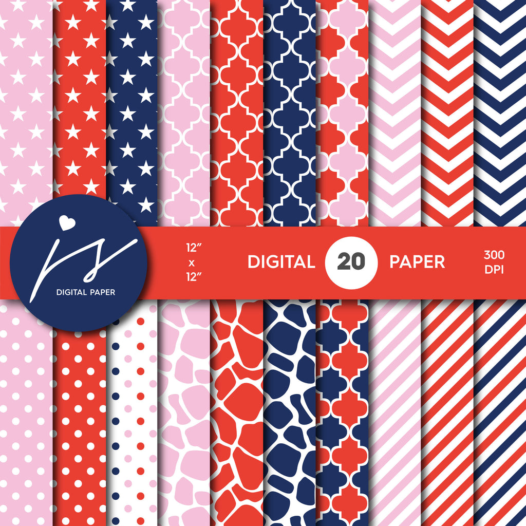Pink, Red and Navy Blue Digital paper bundle pack with polka dots, stripes, chevron, safari, cow and stars pattern, BU-13
