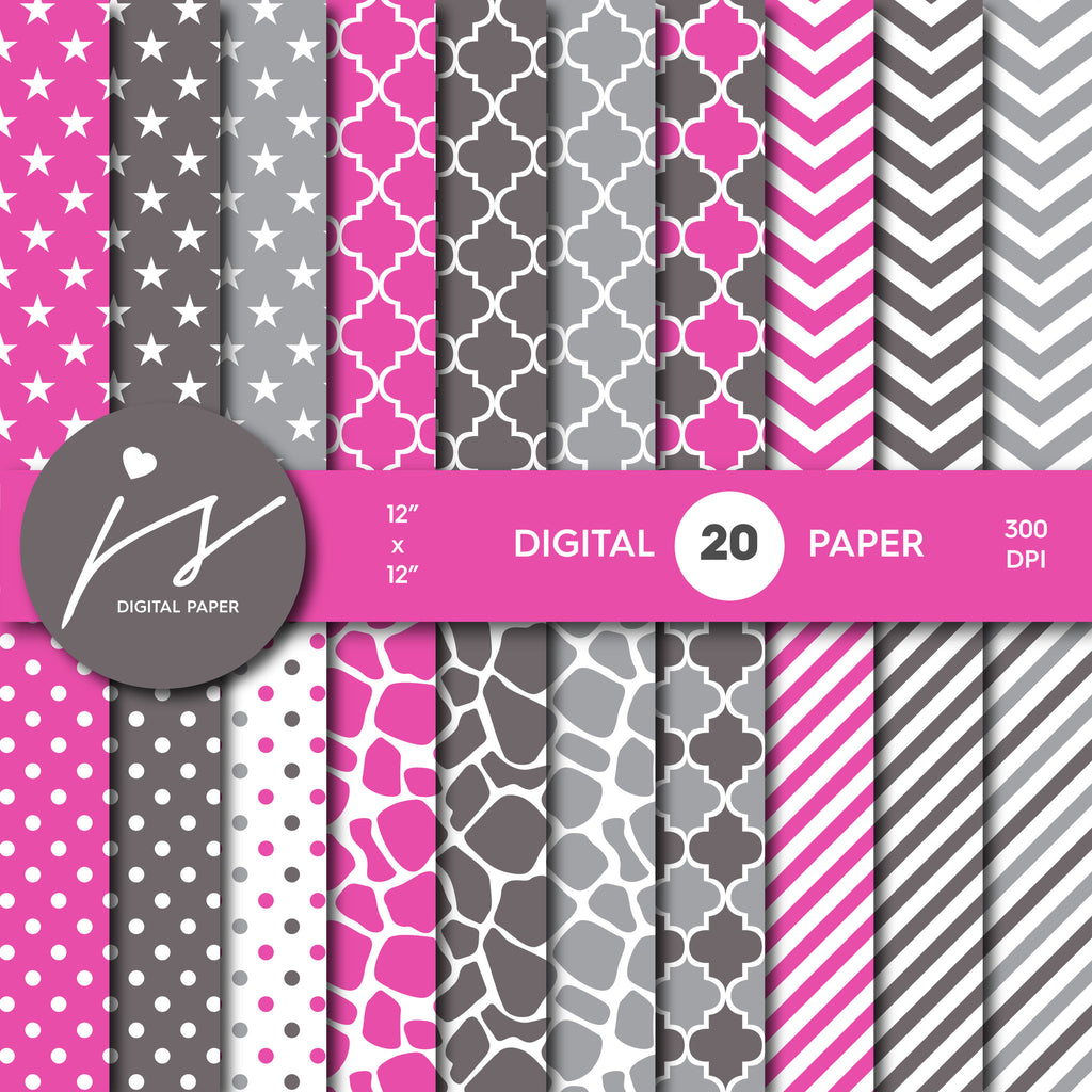 Hot Pink, Brown and Grey Digital paper bundle pack with polka dots, stripes, chevron, safari, cow and stars pattern, BU-14
