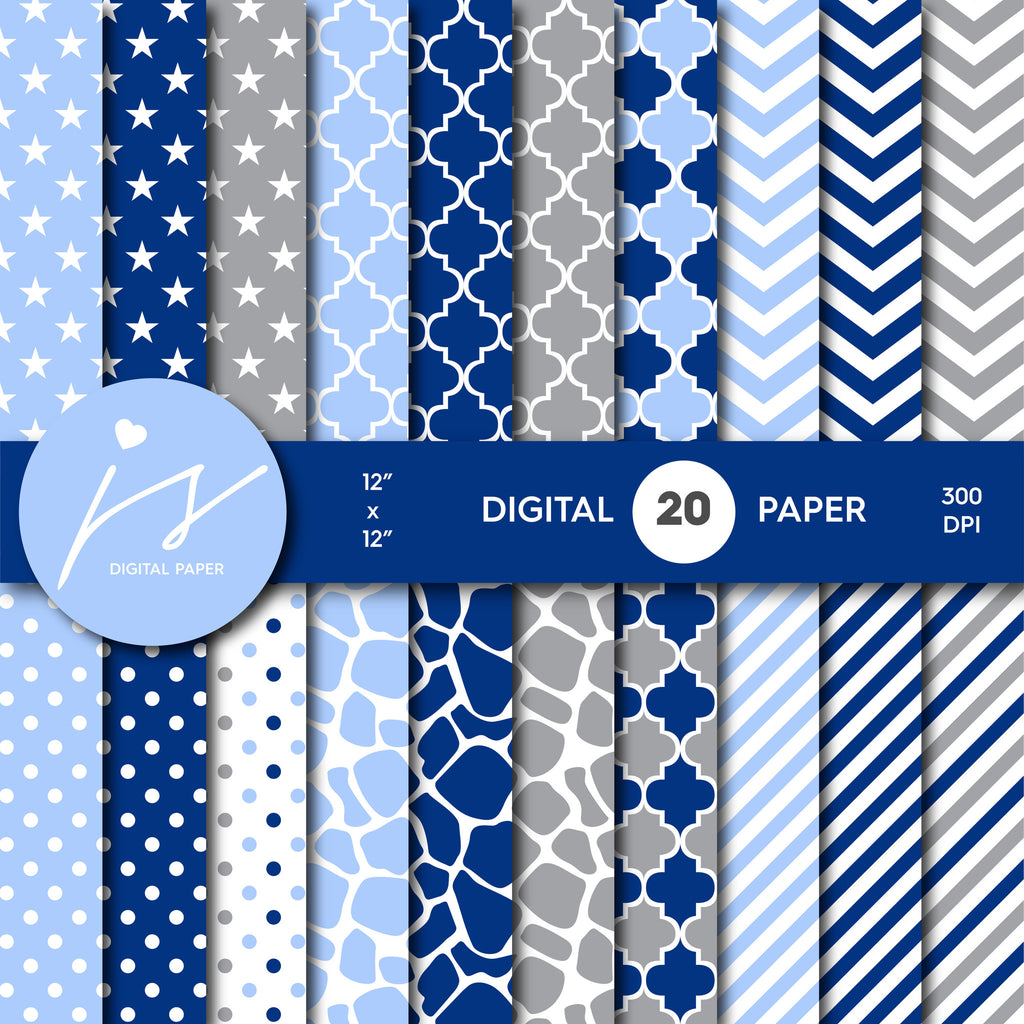 Light blue, Navy blue and Grey Digital paper bundle pack with polka dots, stripes, chevron, safari, cow and stars pattern, BU-18