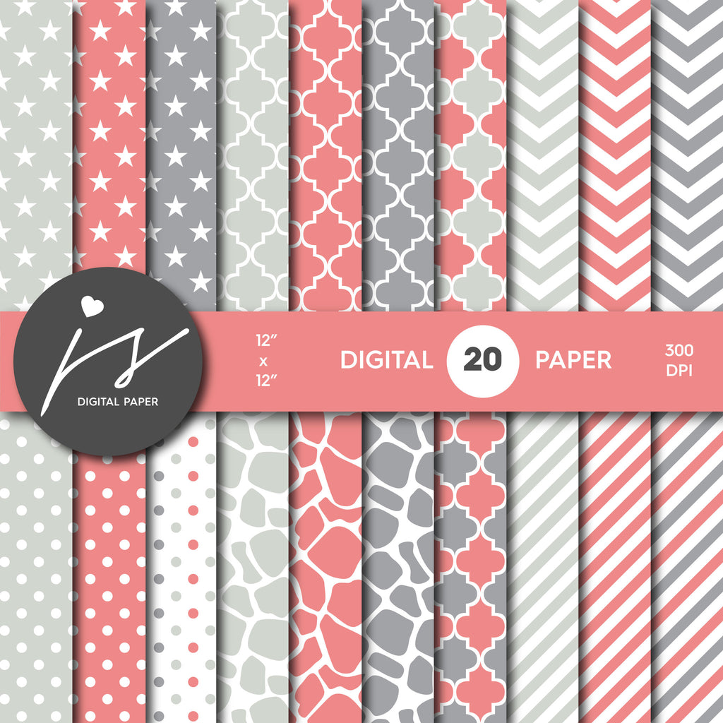 Peach Pink and Grey Digital paper bundle pack with polka dots, stripes, chevron, safari, cow and stars pattern, BU-23