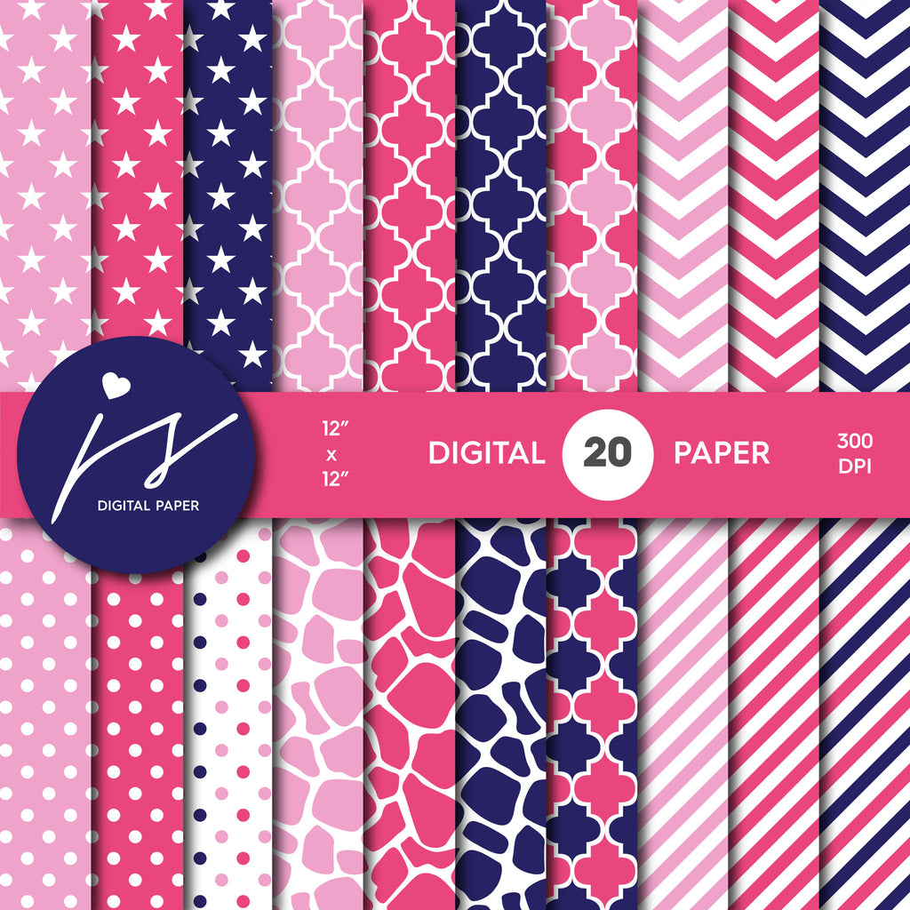 Hot Pink and Navy blue Digital paper bundle pack with polka dots, stripes, chevron, safari, cow and stars pattern, BU-24