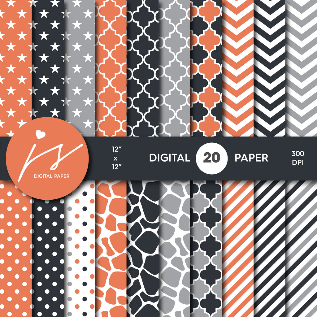 Orange, Black and Grey Digital paper bundle pack with polka dots, stripes, chevron, safari, cow and stars pattern, BU-25