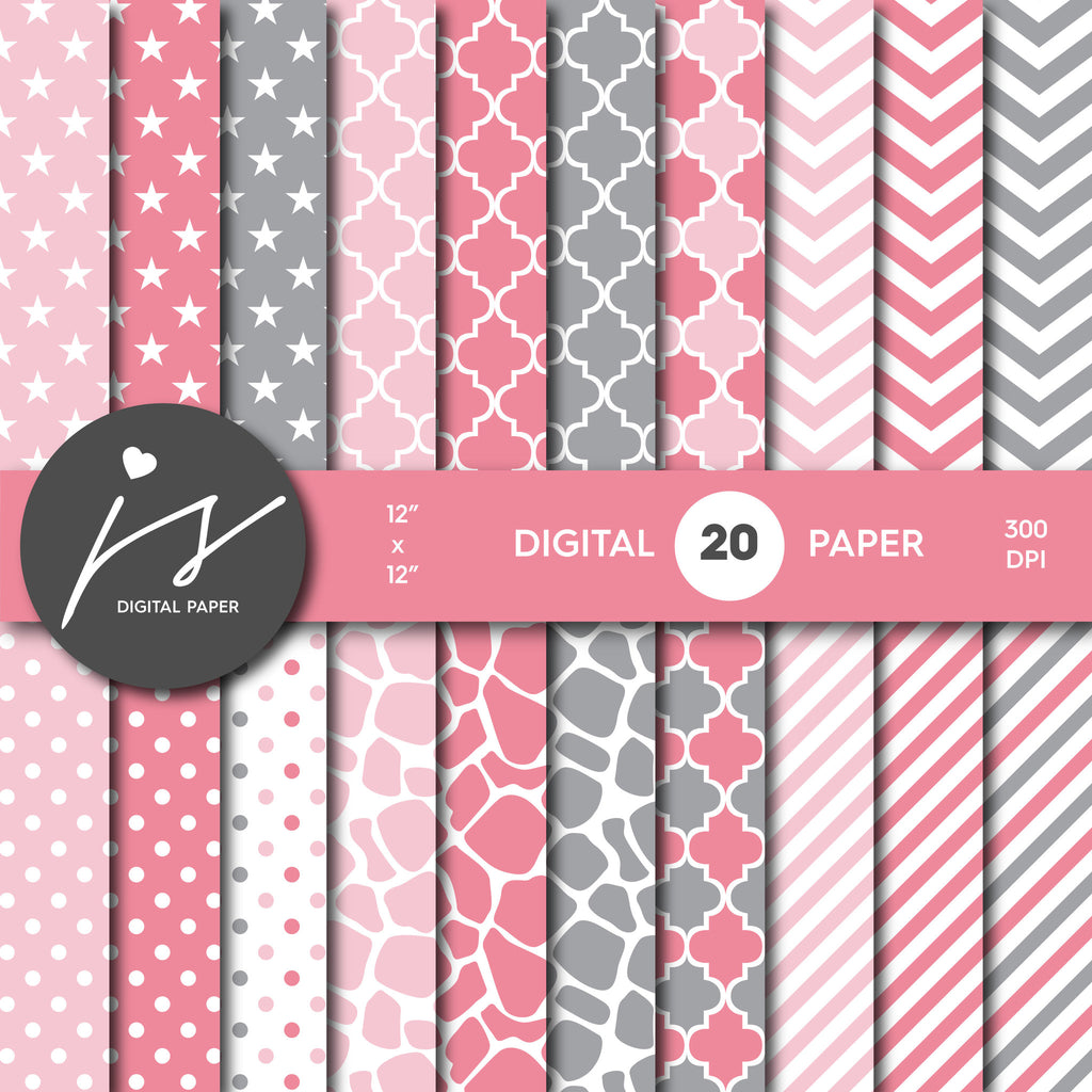 Grey and Light Pink Digital paper bundle pack with polka dots, stripes, chevron, safari, cow and stars pattern, BU-34