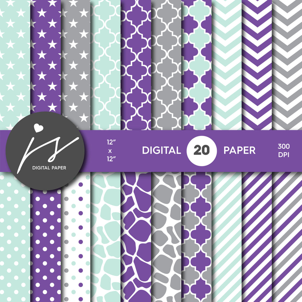 Grey Mint and Purple Digital paper bundle pack with polka dots, stripes, chevron, safari, cow and stars pattern, BU-35