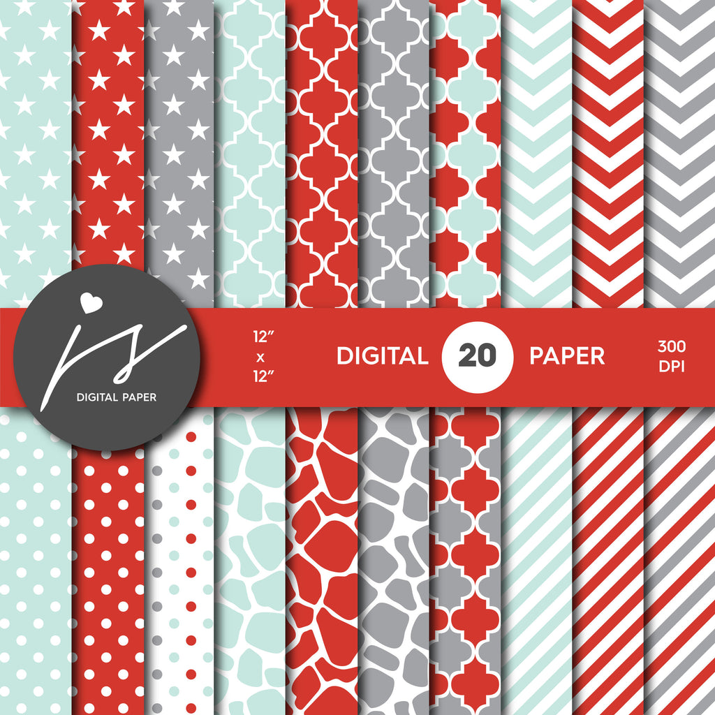 Grey Mint and Red Digital paper bundle pack with polka dots, stripes, chevron, safari, cow and stars pattern, BU-36