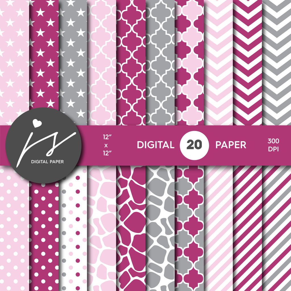 Grey Burgundy and Pink Digital paper bundle pack with polka dots, stripes, chevron, safari, cow and stars pattern, BU-38