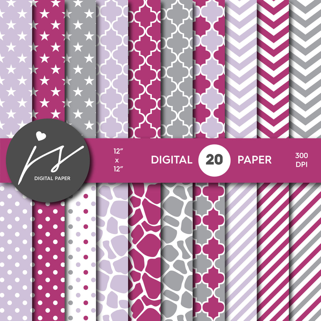 Grey Burgundy and Purple Digital paper bundle pack with polka dots, stripes, chevron, safari, cow and stars pattern, BU-39