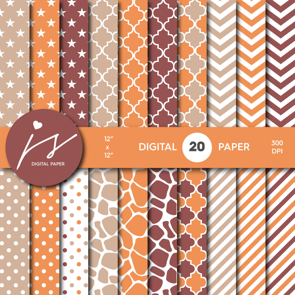 Orange, Beige and Brown Digital paper bundle pack with polka dots, stripes, chevron, safari, cow and stars pattern, BU-43