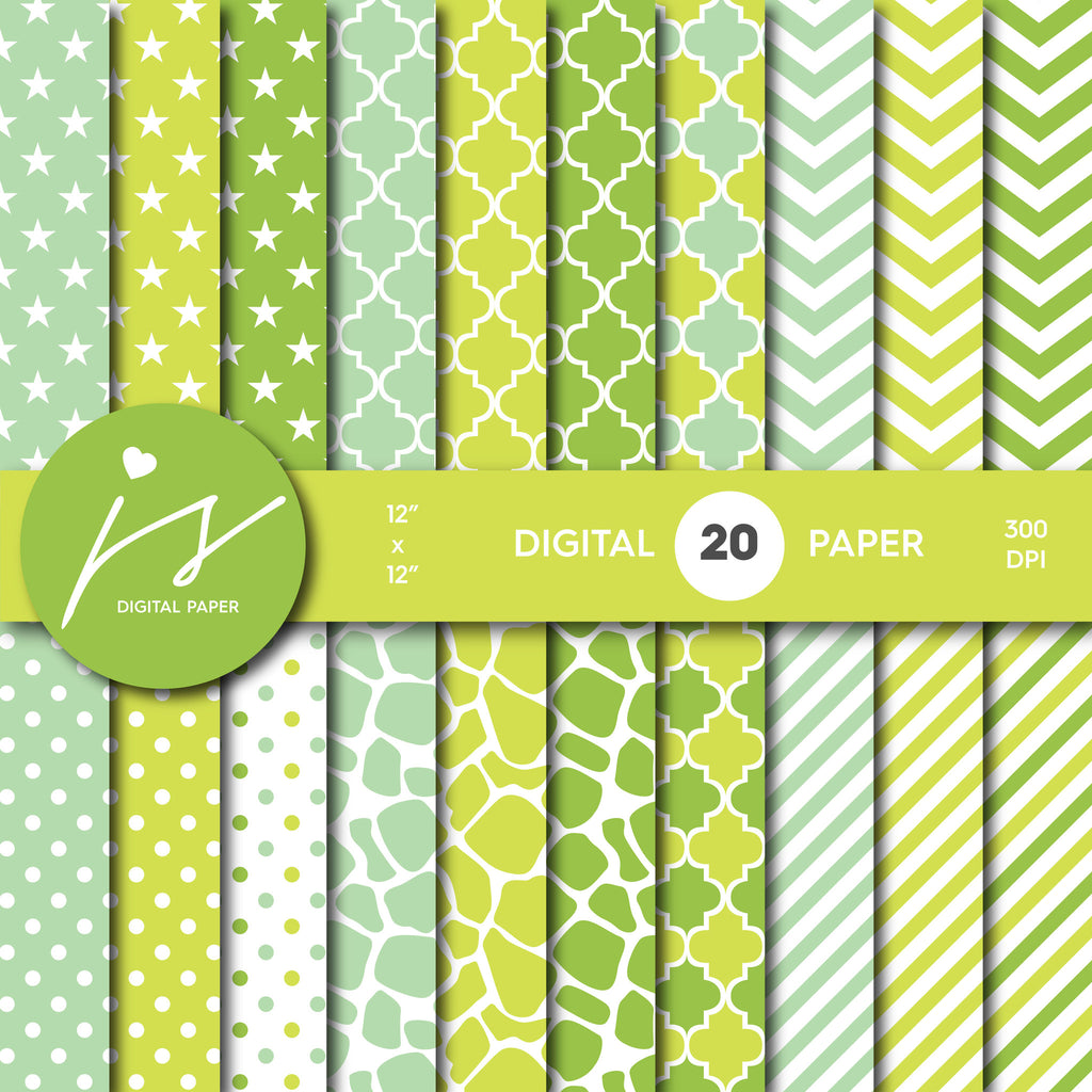 Green Digital paper bundle pack with polka dots, stripes, chevron, safari, cow and stars pattern, BU-44