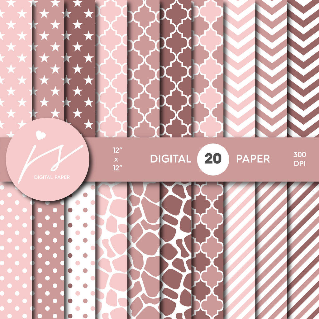 Rose Pink Digital paper bundle pack with polka dots, stripes, chevron, safari, cow and stars pattern, BU-47