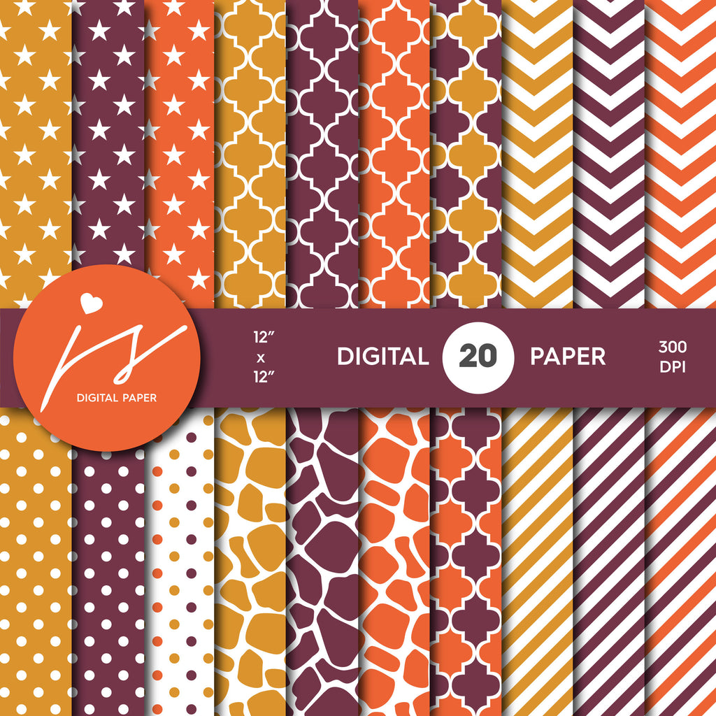 Orange and Wine red Digital paper bundle pack with polka dots, stripes, chevron, safari, cow and stars pattern, BU-48