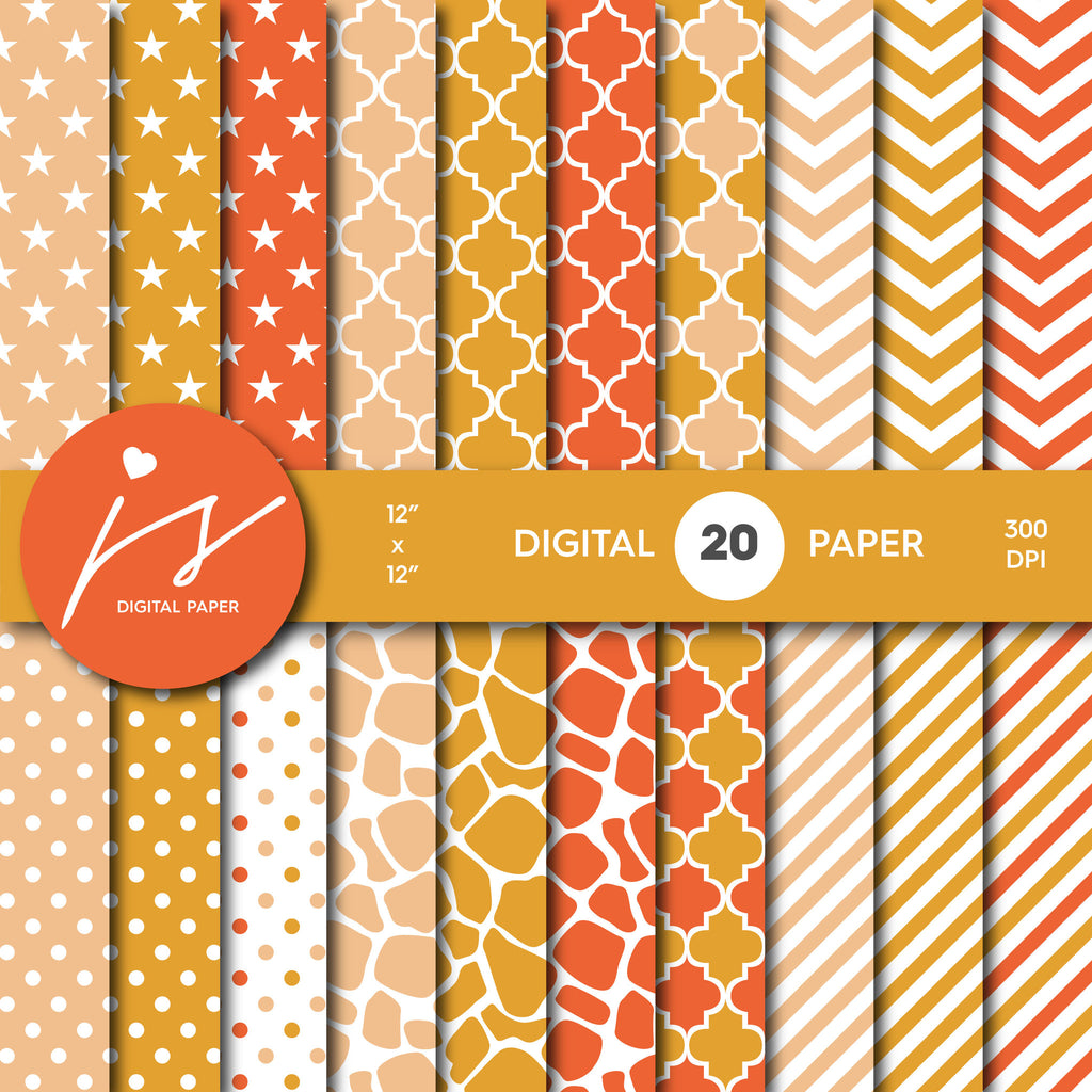 Beige and Orange Digital paper bundle pack with polka dots, stripes, chevron, safari, cow and stars pattern, BU-49