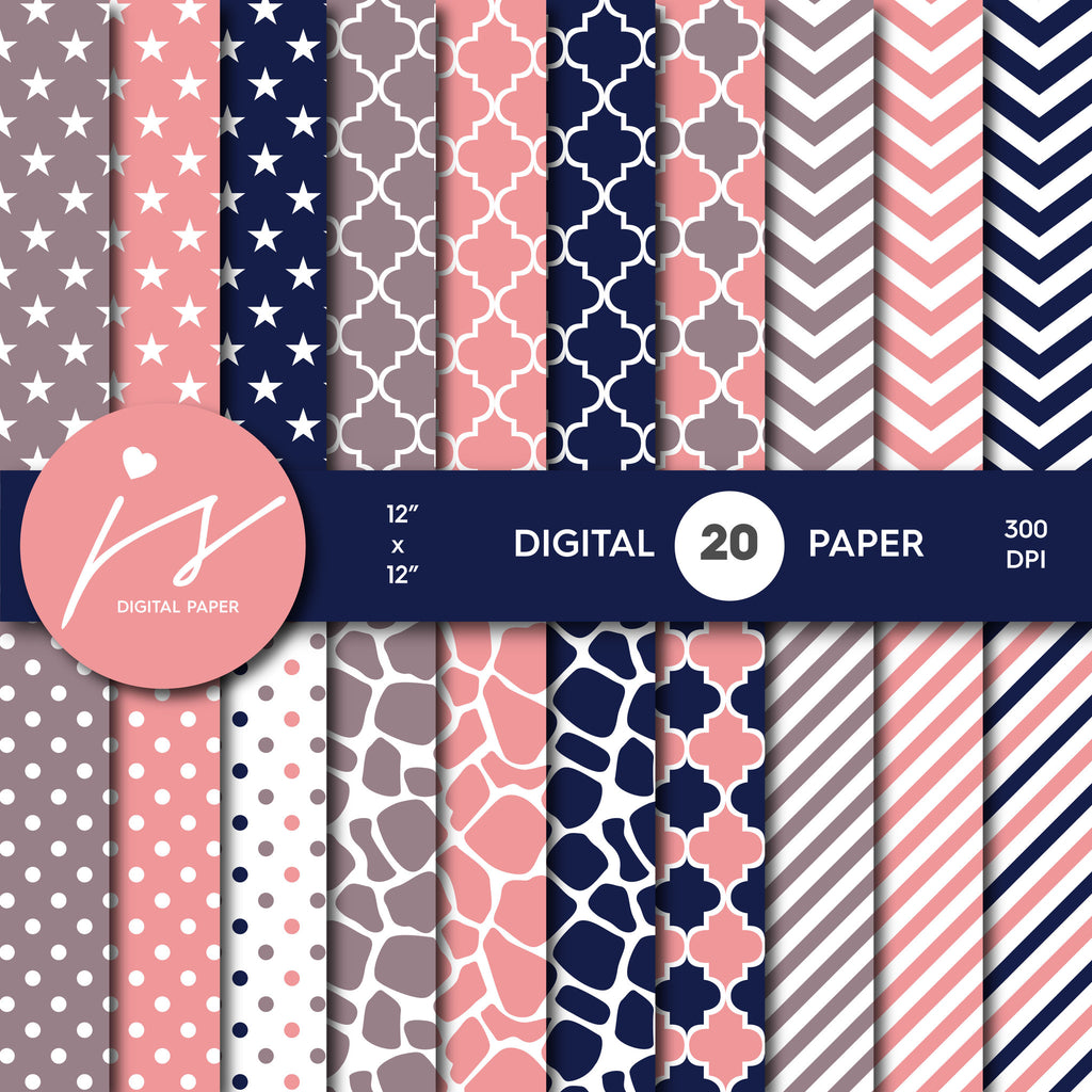 Navy Blue and Peach Pink Digital paper bundle pack with polka dots, stripes, chevron, safari, cow and stars pattern, BU-52