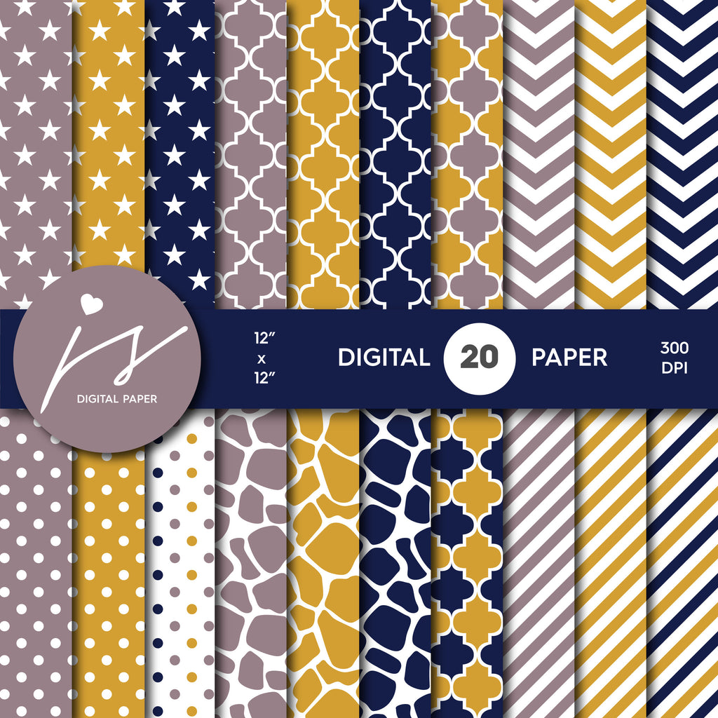 Navy Blue and Brown Digital paper bundle pack with polka dots, stripes, chevron, safari, cow and stars pattern, BU-53