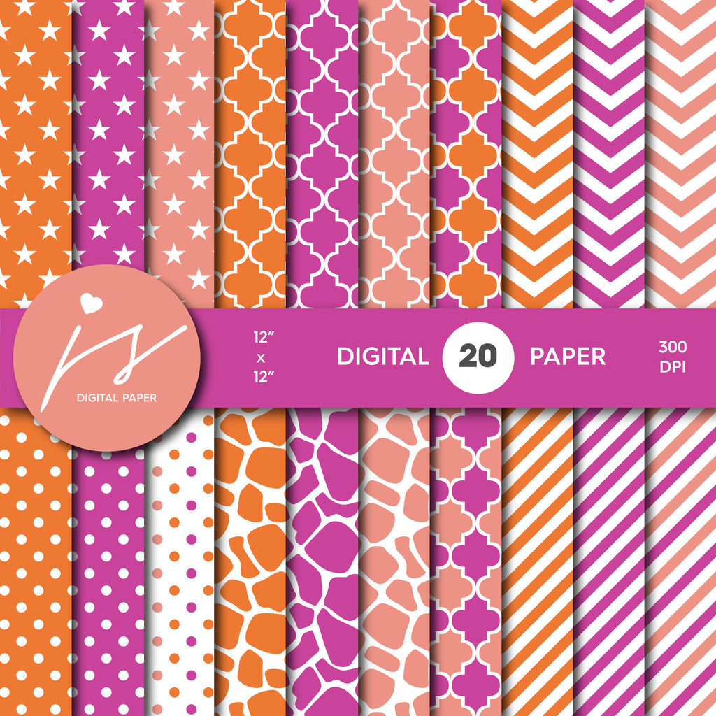 Orange Purple and Peach Digital paper bundle pack with polka dots, stripes, chevron, safari, cow and stars pattern, BU-54